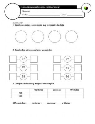 Evaluación Inicial Matemáticas 3º IMAGEN