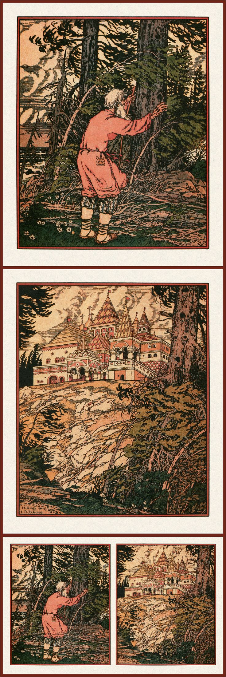 Ivan Bilibin, illustrations for Alexander Pushkin's The Fisherman and the Golden Fish, 1933.