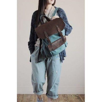 #01 Plecak 'VINTAGE 2' płótno-skóra naturalna A4 Zielony