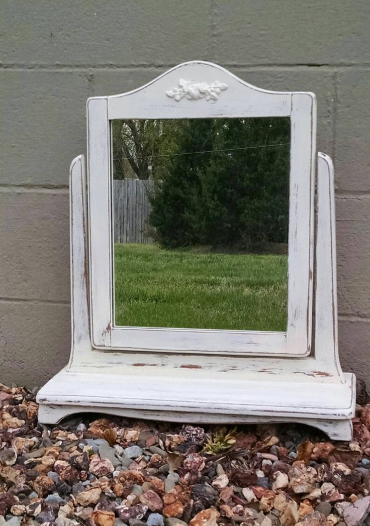 Vintage Mirror,Vintage Dresser Mirror,Vanity Mirror,Dresser Mirror,Shabby Mirror,Cottage Mirror,Bathroom Mirror,Painted Mirror by ByTheShoreVintage on Etsy
