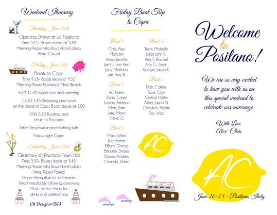 Positano, Italy Wedding Map and Itinerary\/Infographic, wedding map - sample wedding brochure