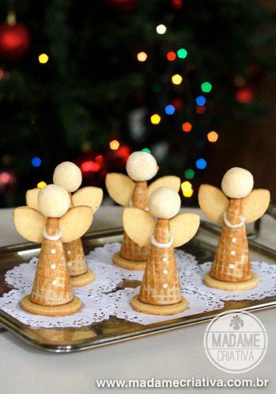 Estes anjos comestíveis recheados com doce de leite são deliciosos e ótimos para enfeitar a mesa da ceia de Natal! Lembro que a primeira vez que fizemos estes anjinhos para o Natal eu ainda era...