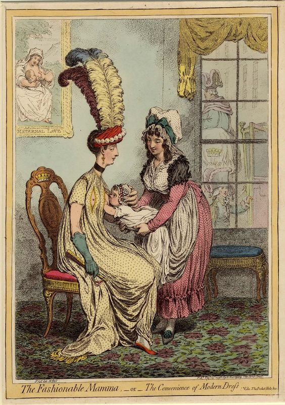 """This dress features slits in the bust to permit women to more easily breastfeed their baby—a duty which had, for most of the 18th century, been delegated to a hired """"wet nurse."""""""