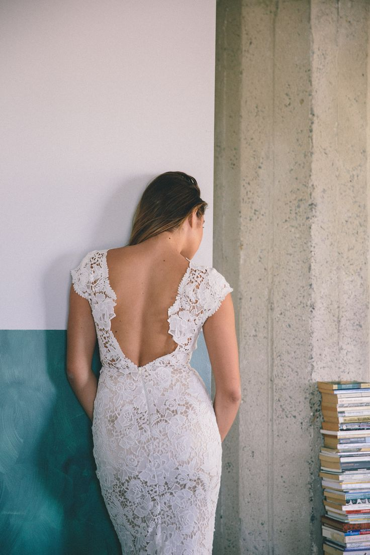 Wilshire Gown from LAUDAE - nearly backless lace wedding gown with cap sleeves and front cut-out •