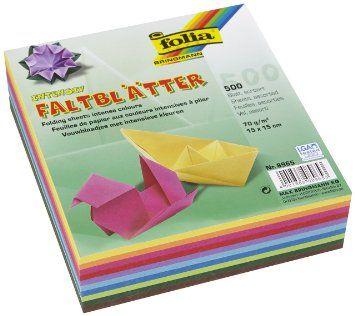 Folia 8956 - Pack 500 hojas para origami, 15 x 15 cm, multicolor: Amazon.es: Juguetes y juegos