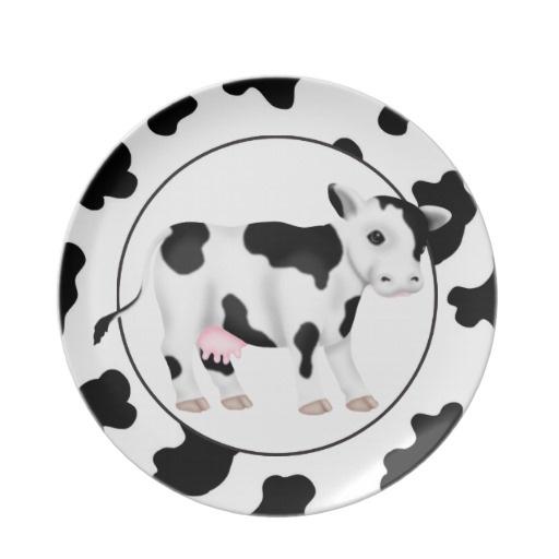 Country Cow Cartoon Animal Plate