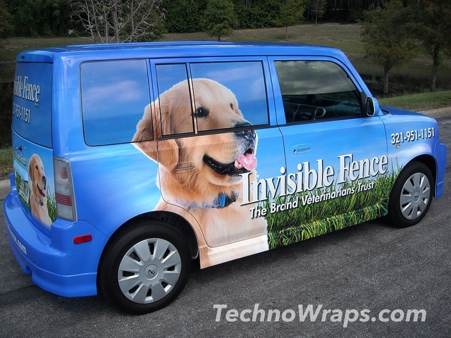 Vinyl car wrap designed, and entirely completed by TechnoSigns in Orlando, Florida. More vehicle wraps can be seen at www.technowraps.com. Nice Scionk photo found on the web