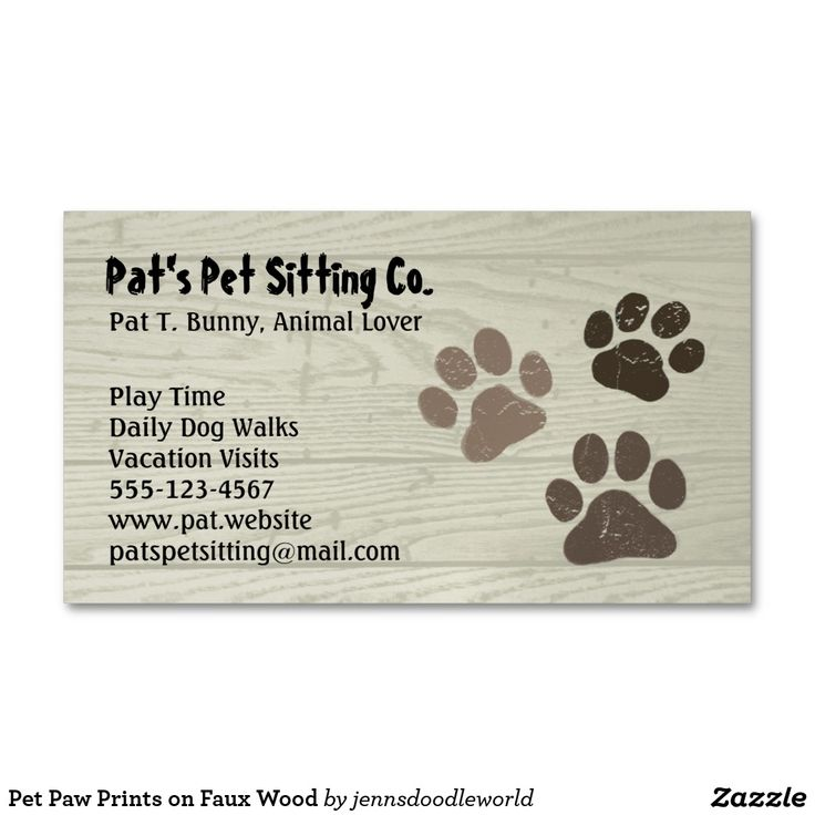 Pet Dog Or Cat Paw Prints On Faux Weatherd Wood Magnetic Business