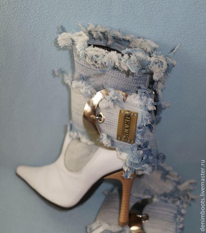 """Ботинки """"Поцелуй"""" джинс+кожа, белые - белый,голубой,джинсовый стиль,обувь ручной работы"""