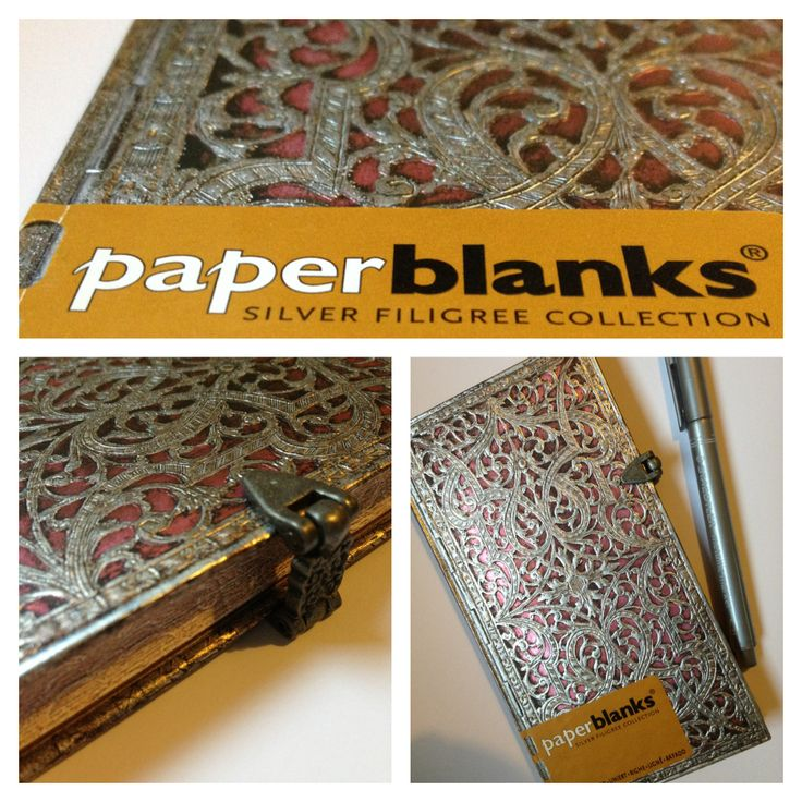 Blush pink silver filigree slim notebook by paperblanks.