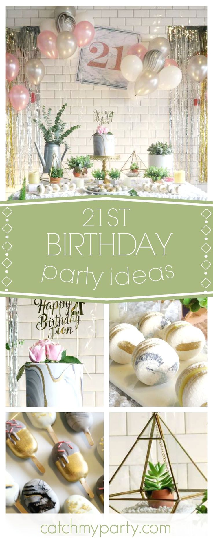 Take a look at this wonderful 21st Marble themed birthday party! The birthday cake is gorgeous!! See more party ideas and share yours at CatchMyParty.com #girlbirthday #21stbirthday