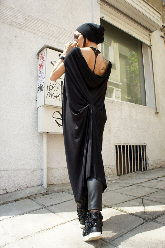 Loose Tunic Top / Black Kaftan / Extravagant Maxi Dress / Black Loose Caftan A03094