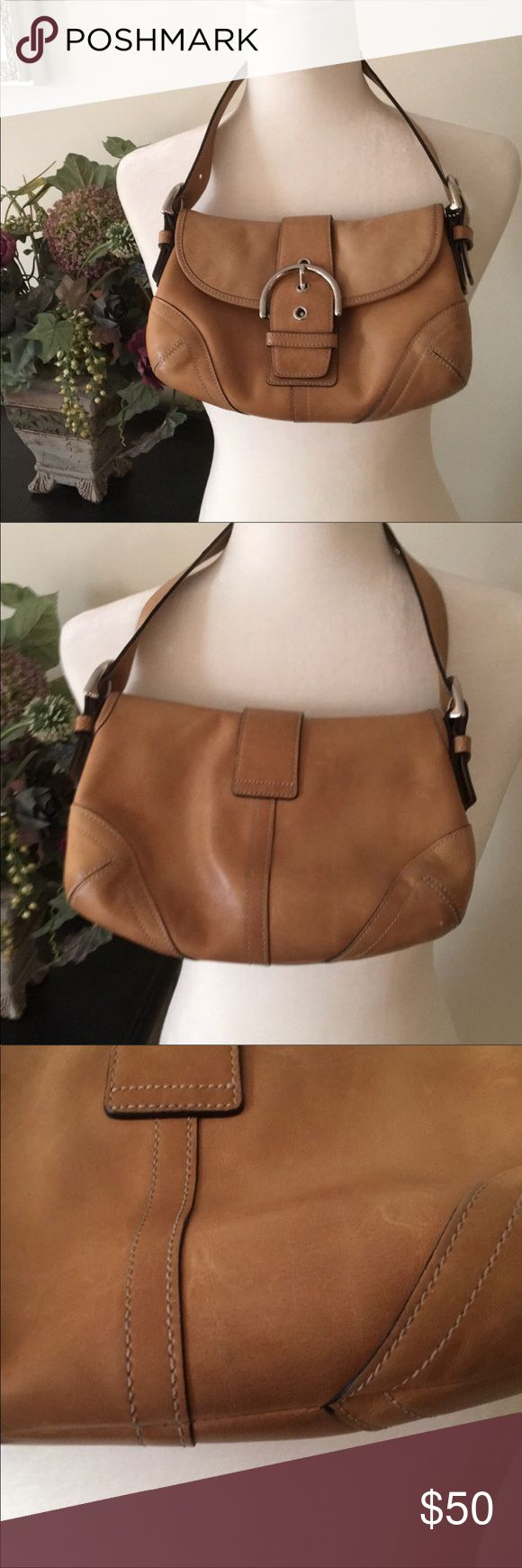 Classic Brown Leather Coach Retail Purse Bag Coach Purse. Measures 10 by 6.5. Excellent gently used. Silver metal and brown tan leather. Purchased at retail store. Coach Bags Shoulder Bags