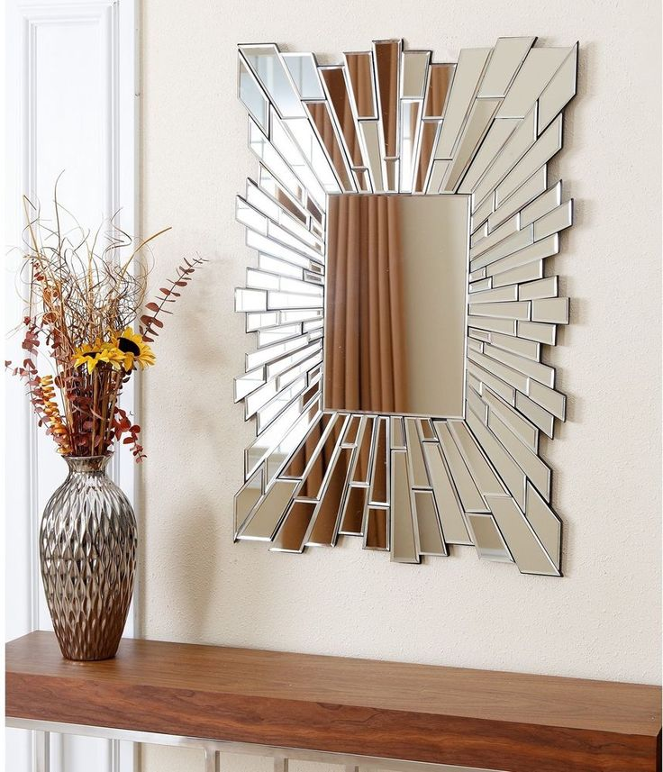 Silver Empire Rectangle Wall Burst Mirror Bedroom Home Wall Horizontal Mirror  #AbbysonLiving #ArtDecoStyle #Rectangle #Mirror #Bedroom #Home