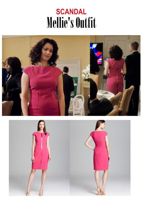"On the blog: Mellie Grant's (Bellamy Young) pink  cap sleeve sheath dress with zipper detail | Scandal 417 - ""Put A Ring On It"" #TGIT #tvstyle #tvfashion #FLOTUS #oufits"