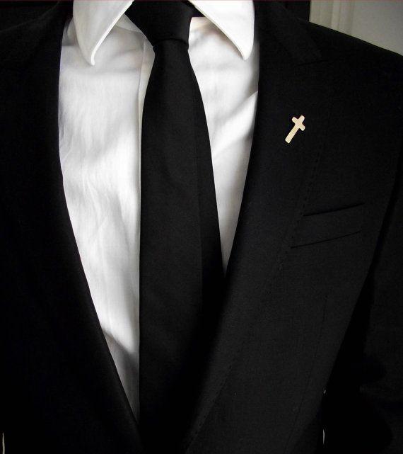 Groom's boutonniere, tie tack, groom's pin, gentleman brooch, men accessories, suit pin, minimalistic lapel pin, wedding cross boutonniere
