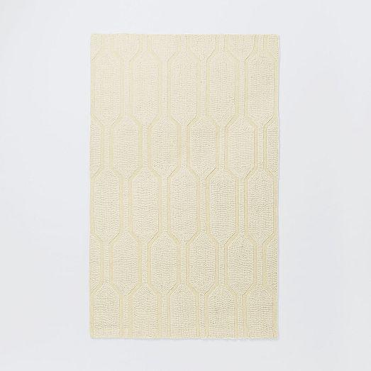 Honeycomb Textured Wool Rug - Ivory