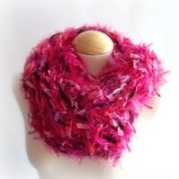 Infinity scarf chunky knit - Pink Pink Fizz