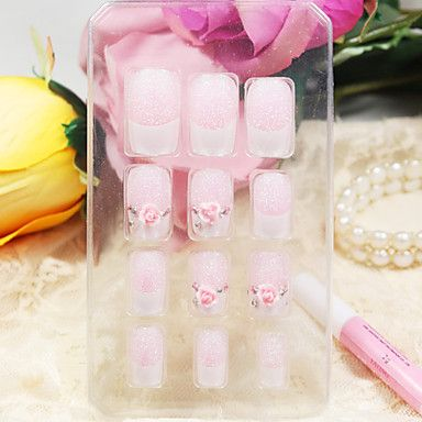 12pcs piena copertura rosa unghie acriliche di stile e consigli con la colla per unghie – EUR € 3.67