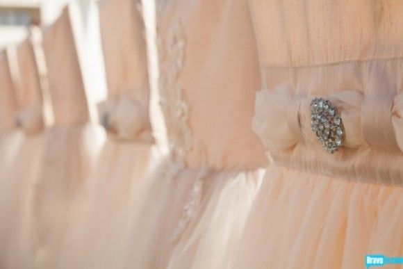 Wildflower Linen - Arlette Champagne chair sleeves as seen in Tamra Barney's Wedding
