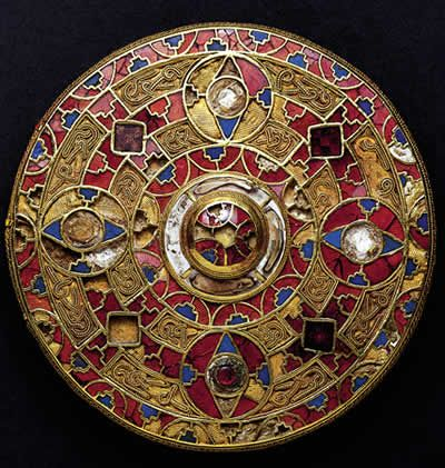 Kingston Down Brooch,  7th Century AD. Anglo-Saxon - gold, inlaid with blue glass, white shell and cut garnets. This is the largest and finest brooch of its kind to be found. © National Museums Liverpool