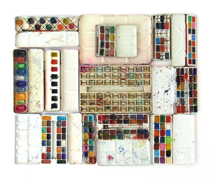 Inside view of vintage watercolor tins by Suzanna Scott