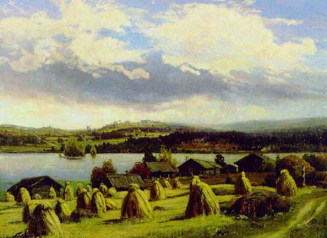 Landscape by Fanny Churberg (1845-1892) - Hän oli ensimmäisiä Pariisissa opiskelleita suomalaisia maalareita.Fanny Churberg oli Vilhelm von Gegerfeltin yksityisoppilaana Pariisissa 1876.Vuonna 1878 hän teki matkan Pariisin maailmannäyttelyyn, ja kansankäsityöt alkoivat kiinnostaa häntä yhä enemmän.