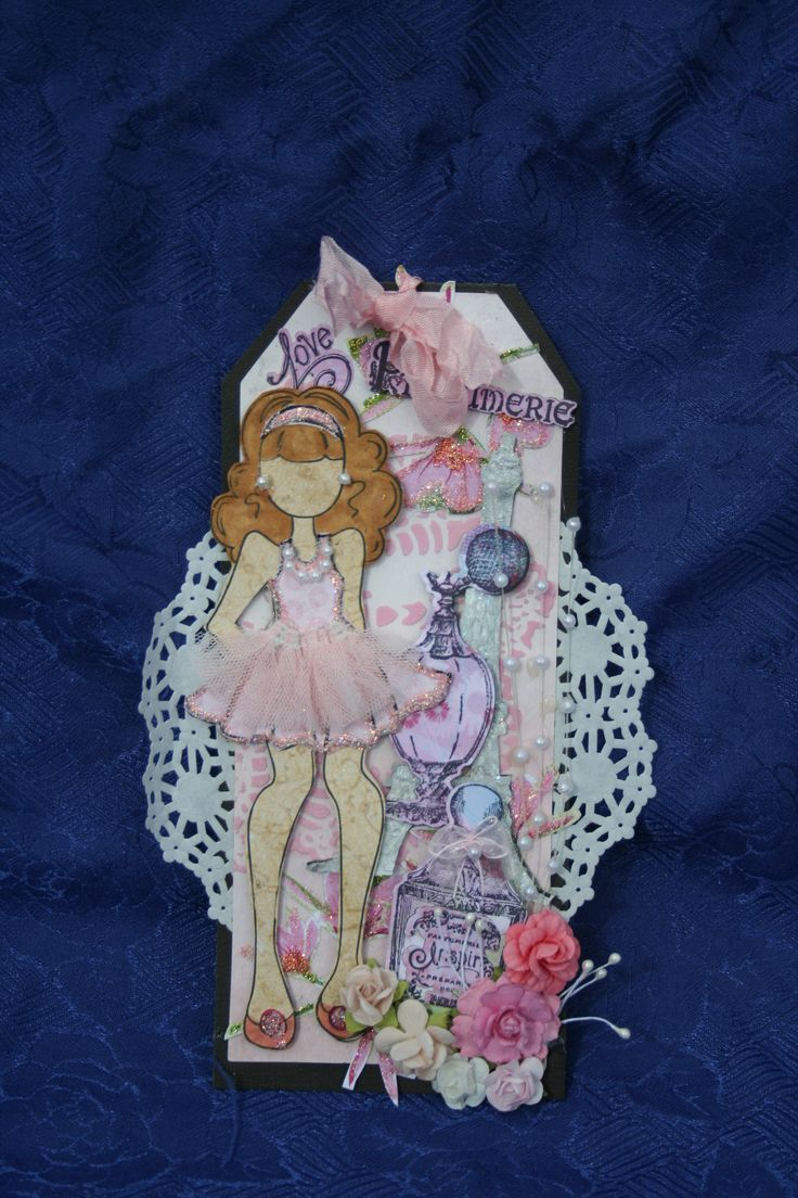Glitter,molding paste tinted pink,perfume bottles,paris,  all around a girlie tag!