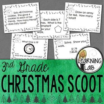 This Christmas themed math scoot game reviews third grade skills from the first few months of the school year using the Everyday Mathematics program. A scoot game involves students answering questions from a task card on an answer sheet at different numbered stations.