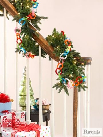 Link colorful chenille stems together for a garland that goes on and on and on...