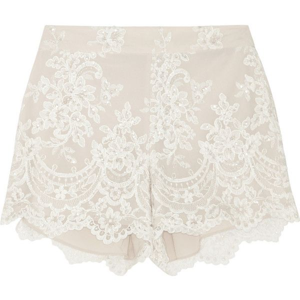 Alice + Olivia Embroidered tulle shorts found on Polyvore