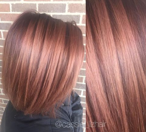 Base Color: 2/3 5VR + 1/3 5C Ends: 1oz 9BrM + 1/2 inch 5VR Work by #Kenra Educator @cassieliz_hair. #MetallicObsession #KenraColor #KenraEducation #Kreate #rosegoldhair