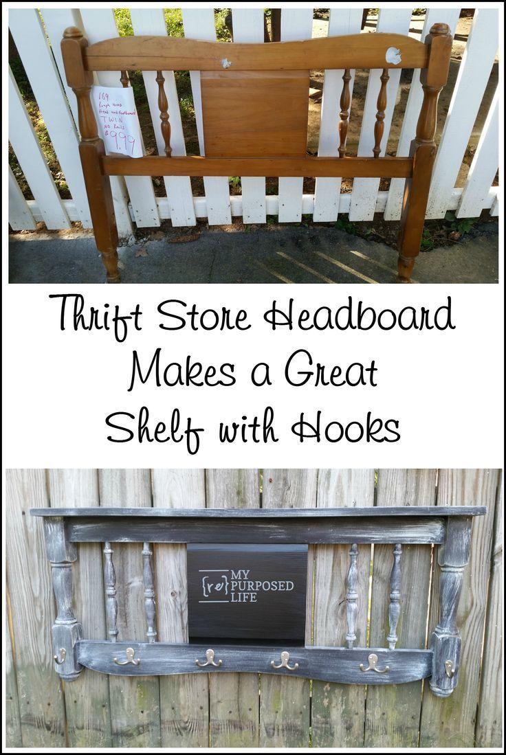 Distressed Chalkboard Headboard Coat Rack - My Repurposed Life:tm:
