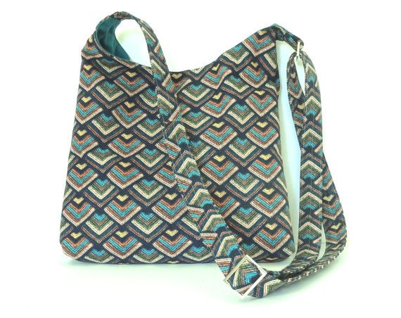 Blue Aztec Cross Body Sling // Shoulder Bag