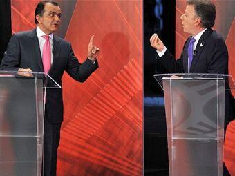 El debate de City TV entre el presidente Santos y el exministro Zuluaga. Ambos buscan atacar los puntos débiles del contrario y amortiguar sus críticas.