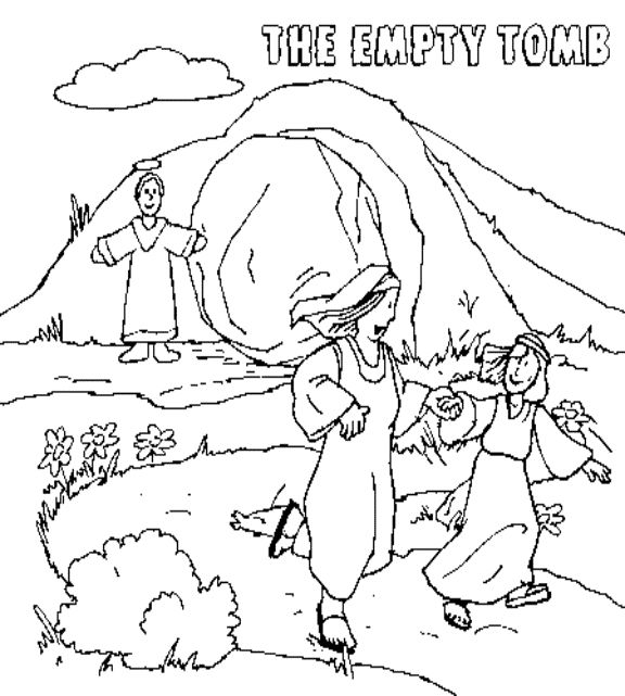 Jesus' Resurrection Empty Tomb coloring page. This