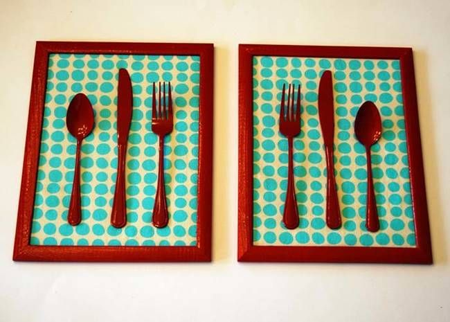 11.) This diner wall art is made from $1 kitchen utensils, $2 frames, fabric, and hot glue.