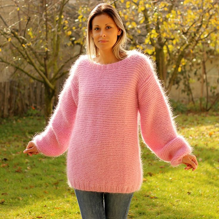 100 Hand Knit Crew Neck Mohair Sweater Pink Color Fuzzy