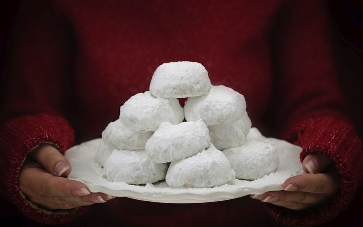 Kourabiedes: traditional Greek butter cookies with white powdered sugar