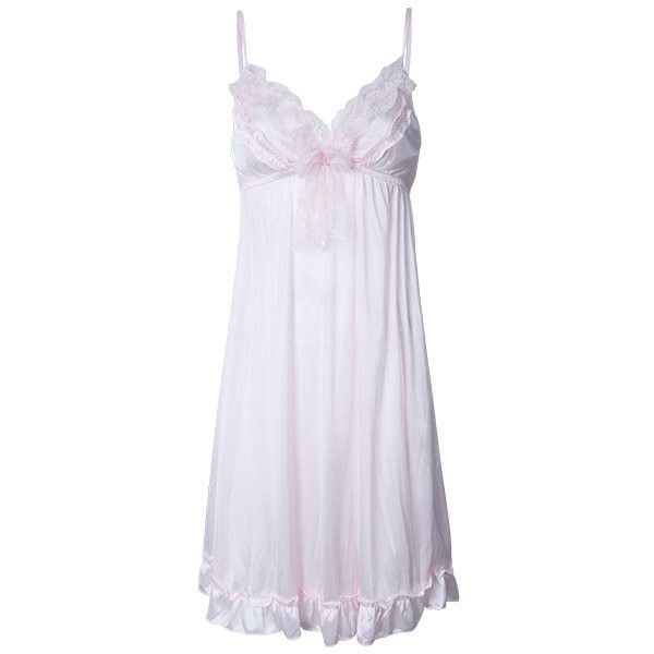 Sexy V Neck Ice Silk Nightdress Spaghetti Strap Sleepwear For Women ($7.73) ❤ liked on Polyvore featuring intimates, sleepwear, nightgowns, sexy nightgown, silk nightgown, silk sleep wear, silk nightie and sexy sleep wear
