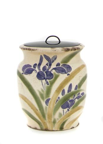 Kinkozan ware tea-ceremony water jar in shape of albarello  19th century      Edo period     Stoneware with white slip and pigments under clear glaze  H: 14.1 W: 12.2 cm   Kyoto, Japan