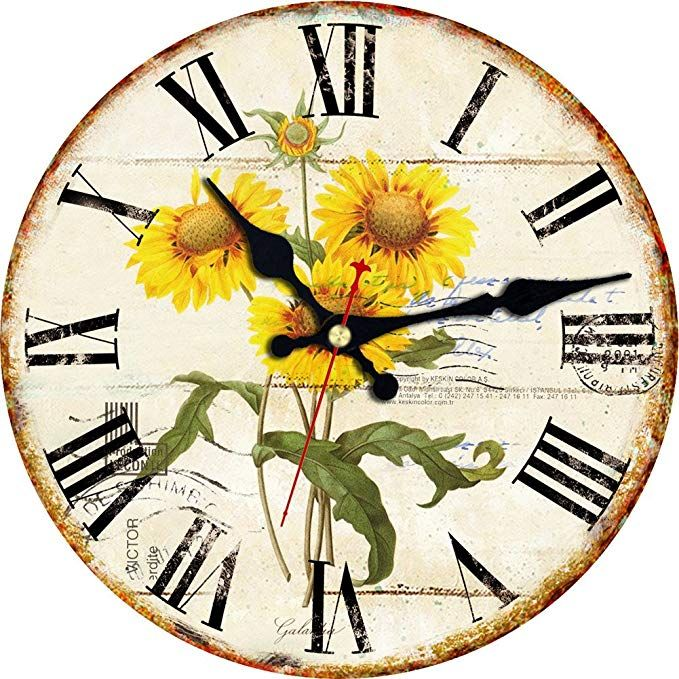 Meistar 12 Inch Sunflower Wall Clock Silent Printed Wood Clock For Kitchen Decor Wall Clock Classic Vintage Clock Wall Clock