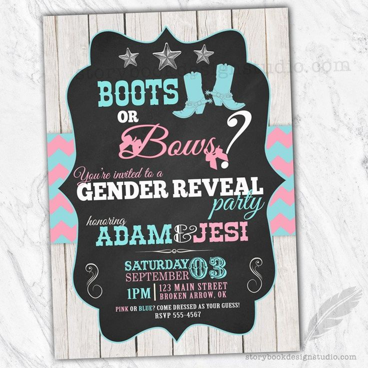 free printable funny0th birthday invitations%0A Boots or Bows Gender Reveal Invitations