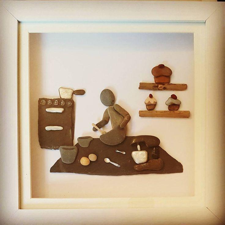 This lady enjoys a bit of baking...yum! #baking #cake #cakedecorating #birthdaycakes #bakery #cooking #ilovebakingcakes #pebbleartpiece #pebblepicture #pebbleartists #beachpebbles #walesbusiness #smallbusiness #kitchen