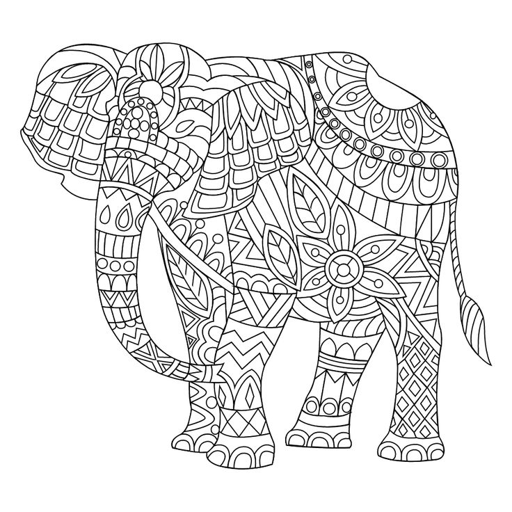 Adult Coloring Pages Elephant Stress Elephants Mandalas Colouring Printable Books
