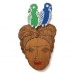 Frida Kahlo Brooch - Parrots - Mechelle B
