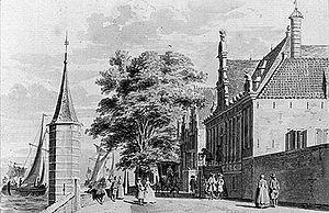 Het Oostindisch huis te Enkhuizen, omstreeks 1729, getekend door Cornelis Pronk (Rijksarchief te Noord-Holland)
