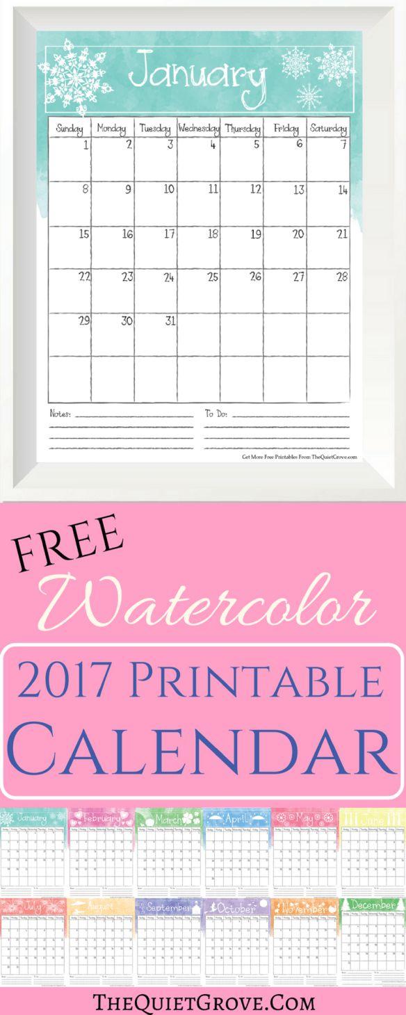 Free Watercolor 2017 Printable Calendar