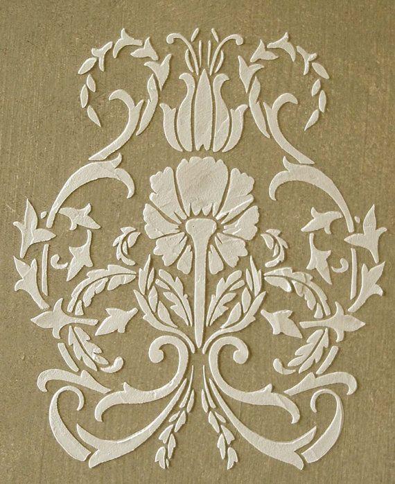 Raised Plaster Floral Damask Stencil, Craft Stencil, Wall Stencil, Furniture Stencil, Painting Stencil on Etsy, $32.99