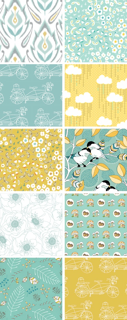 Yellow & Teal Fabric   - for more inspiration visit http://pinterest.com/franpestel/boards/